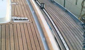 Cleaning teak on a boat